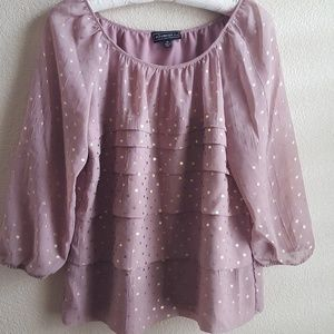 Pink blouse with gold dots, size M, Elementz.